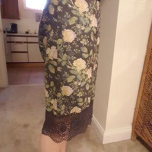 Free people floral pencil skirt slit